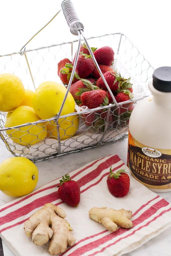 ingredients for easy vegan strawberry ginger lemonade recipe