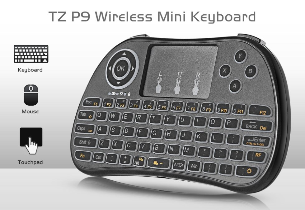 TZ P9 Wireless Mini Keyboard Backlight with Touchpad Android TV Box Pc