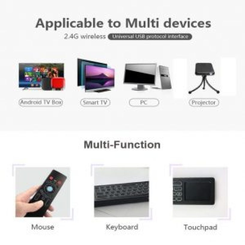 Smart Remote Control T6 Backlit Air Mouse Keyboard Touchpad Android TV Box  Pc Projector