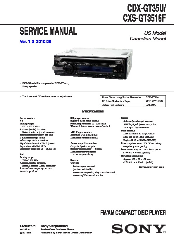 sony cdxgt35u service manual — view online or download