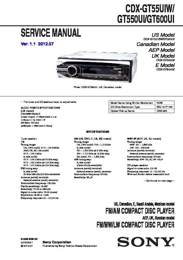 sony cdx gt55uiw wiring diagram  toyota 37204 wiring