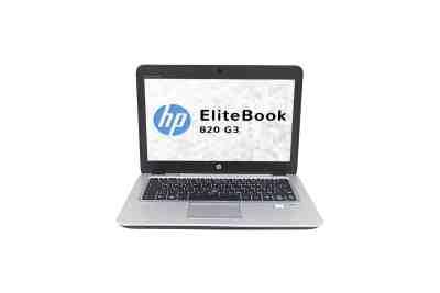 Vue de face de l'ordinateur portable HP EliteBook 820 G3 avec l'écran, le clavier et le touchpad (pavé tactile).