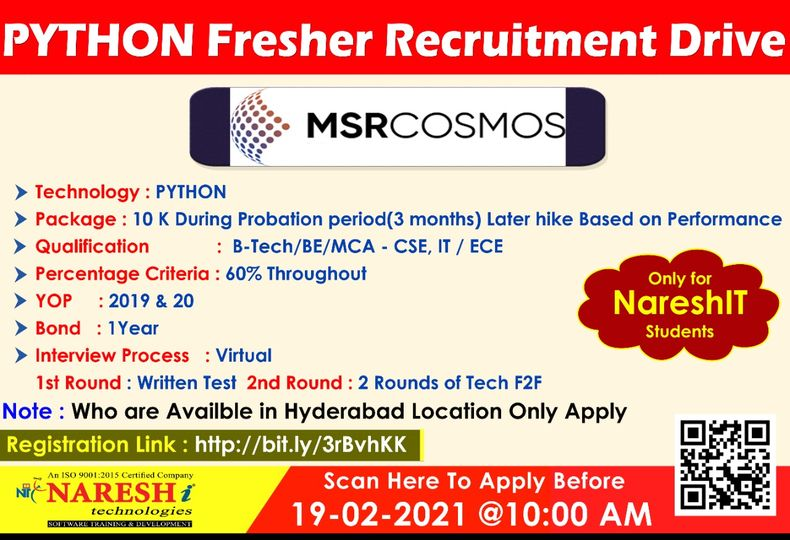 MSRCOSMOS Fresher Recruitment Drive – Only For NareshIT Students.
