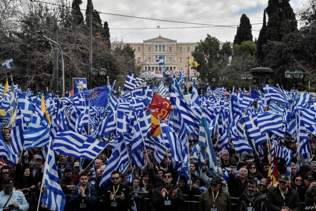 Protesters take part in a demonstration near the Greek Parliament against the agreement with Skopje to rename neighbouring country Macedonia as the Republic of North Macedonia, on January 20, 2019 in Athens, Greece.