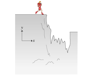 The figure shows a man running to the right toward a crevasse, which right side is below its left side. The xy-plane is shown. The x-axis is directed to the right, and the y-axis is directed upward.