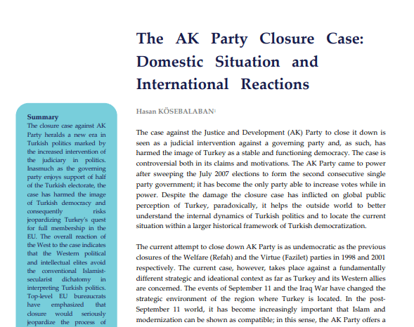 The AK Party Closure Case: Domestic Situation and International Reactions