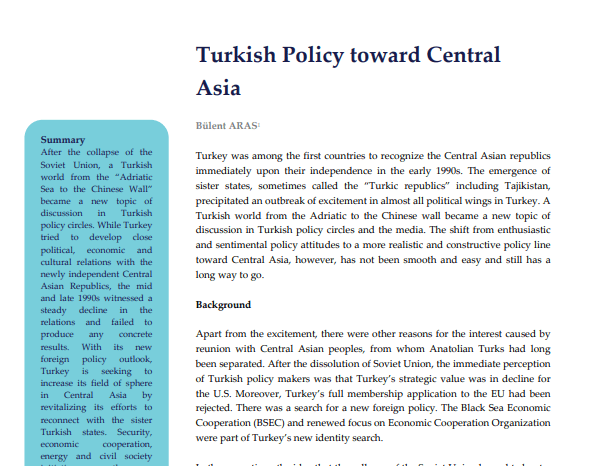 Turkish Policy toward Central Asia