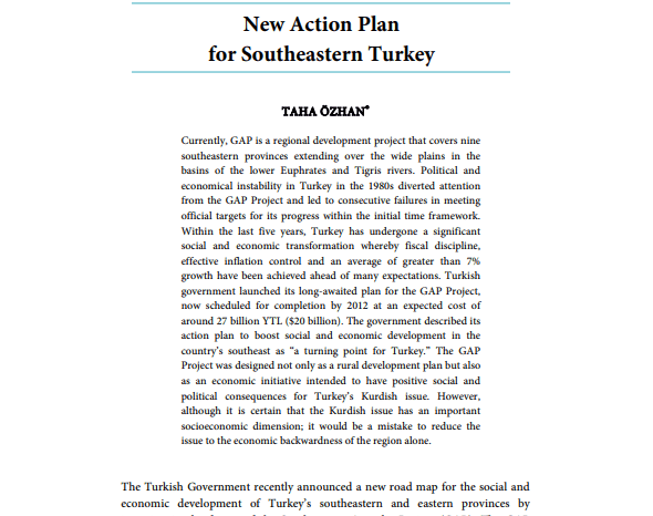 New Action Plan for Southeastern Turkey
