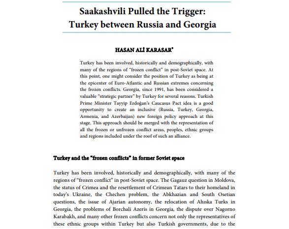 Saakashvili Pulled the Trigger: Turkey between Russia and Georgia