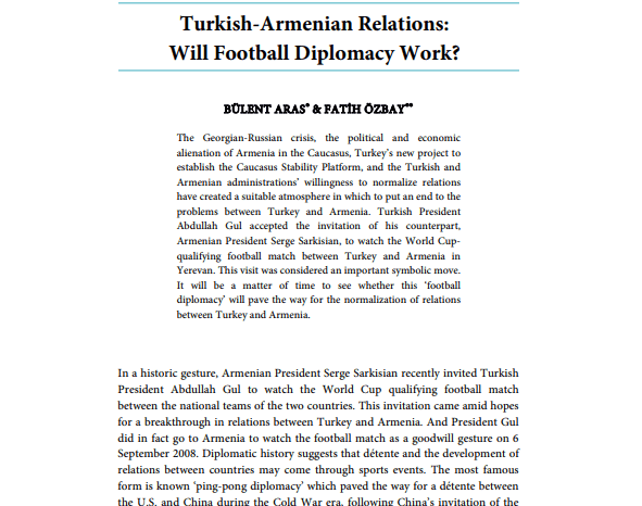 Turkish-Armenian Relations: Will Football Diplomacy Work?