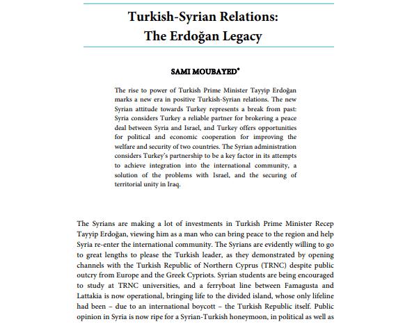 Turkish-Syrian Relations: The Erdoğan Legacy