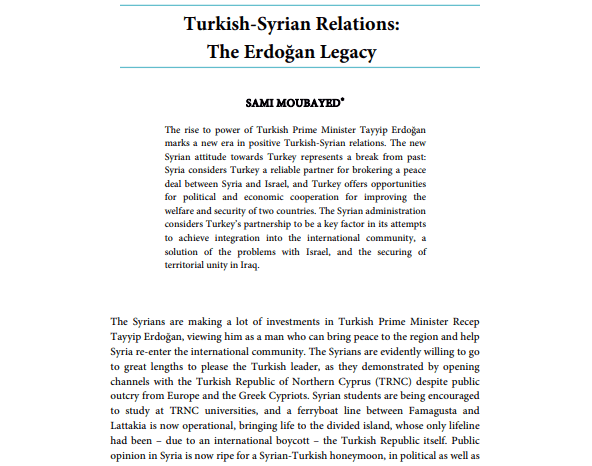 Turkish-Syrian Relations: The Erdoğan Legacy