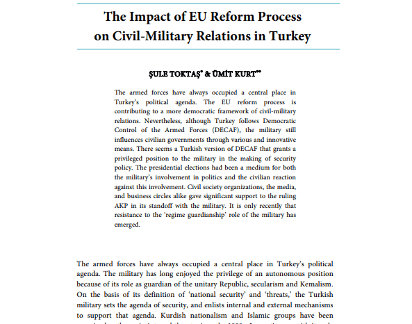 The Impact of EU Reform Process on Civil-Military Relations in Turkey
