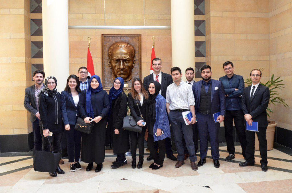 Students at the Turkish Embassy in Washington, D.C.