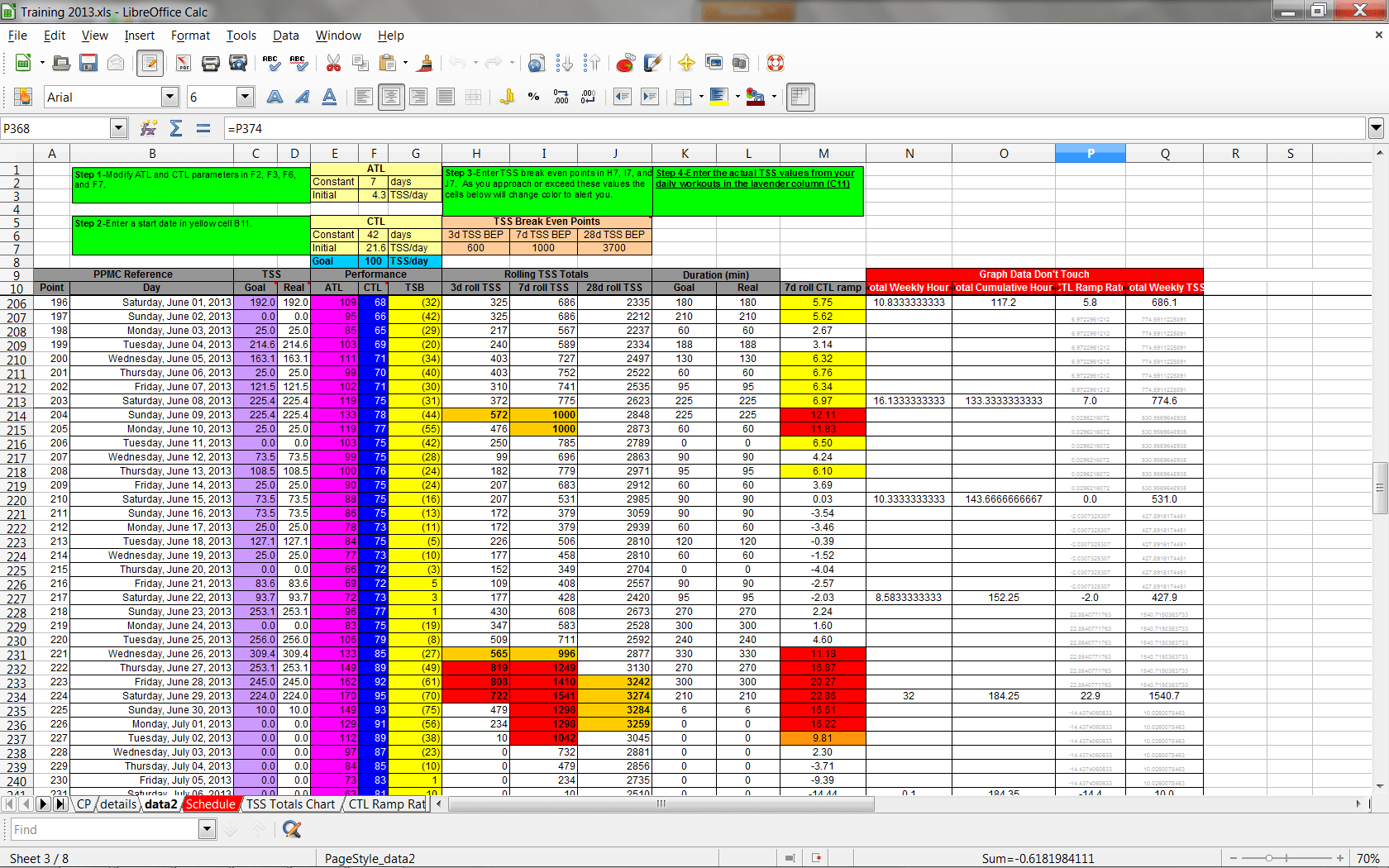 Excel Training Planner