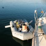 """Loading supplies with the old """"deflatable"""" dinghy"""