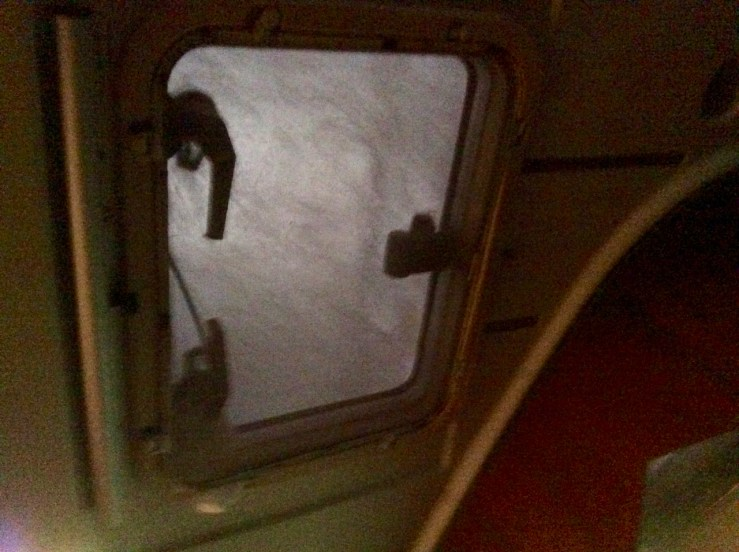 What the forward hatch looks like when it is underwater