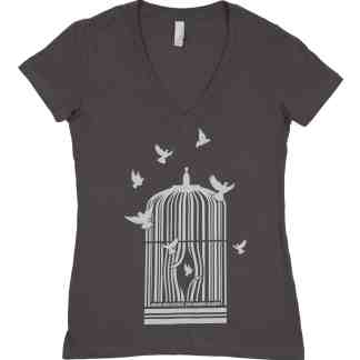 cage set free movement women v_neck end modern slavery create new futures bydfault