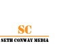Seth Conway Media has a stencil design logo