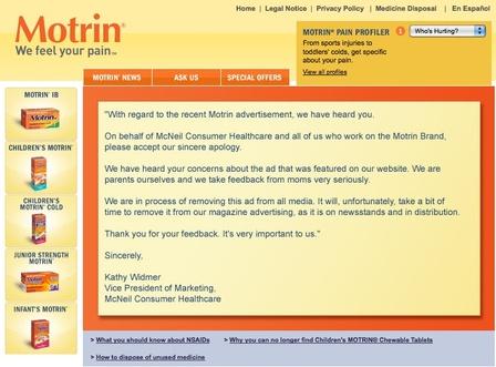 la disculpa de Motrin