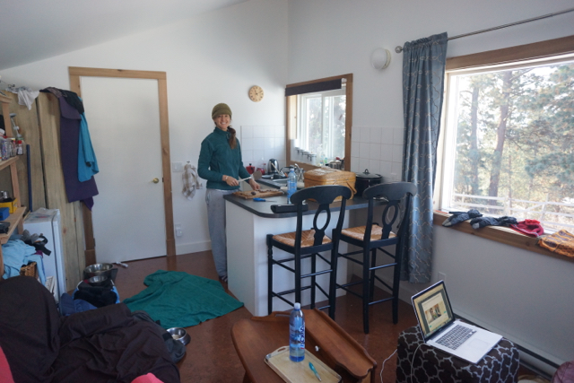 Inside the Tiny House. You can see the big windows. The sofa (on the left/front) turns into a queen bed, and the door at the end is a full sized bathroom with shower/tub.