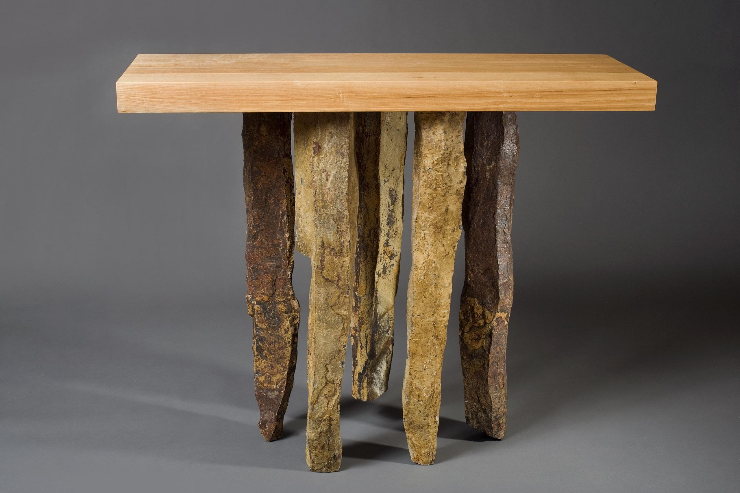 Basalt Hall Table Stone And Hardwood Hall Table Seth