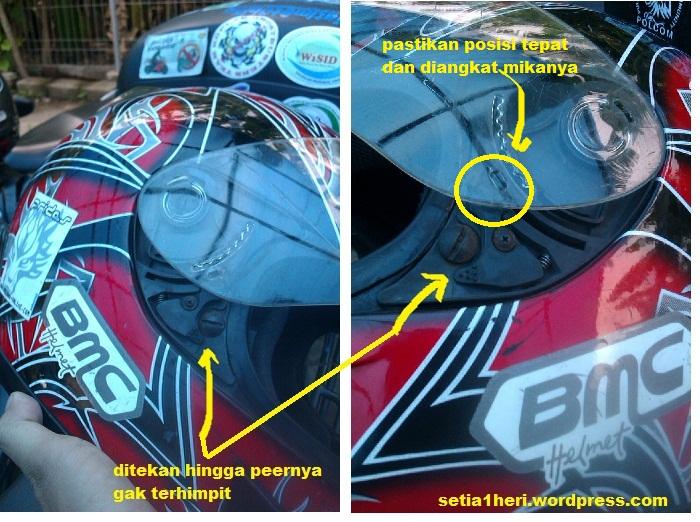 cara buka kaca mika helm BMC