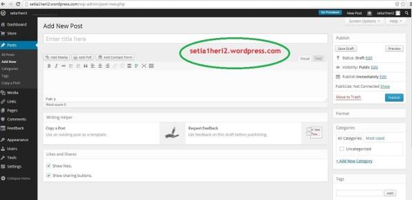 dashboard postingan di wordpress gratisan