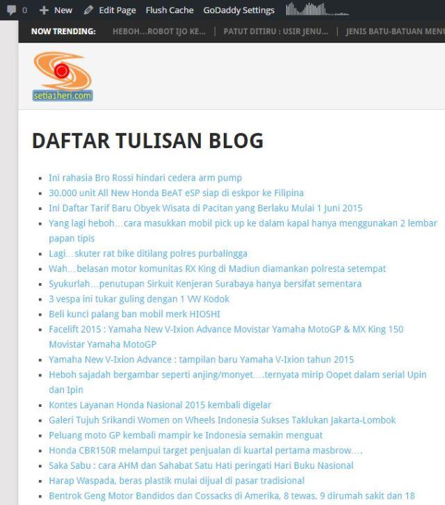 buat daftar tulisan di wordpress org