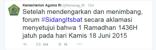 sidang isbat 1436 hijriyah memutuskan 1 ramadhan jatuh tanggal 18 juni 2015