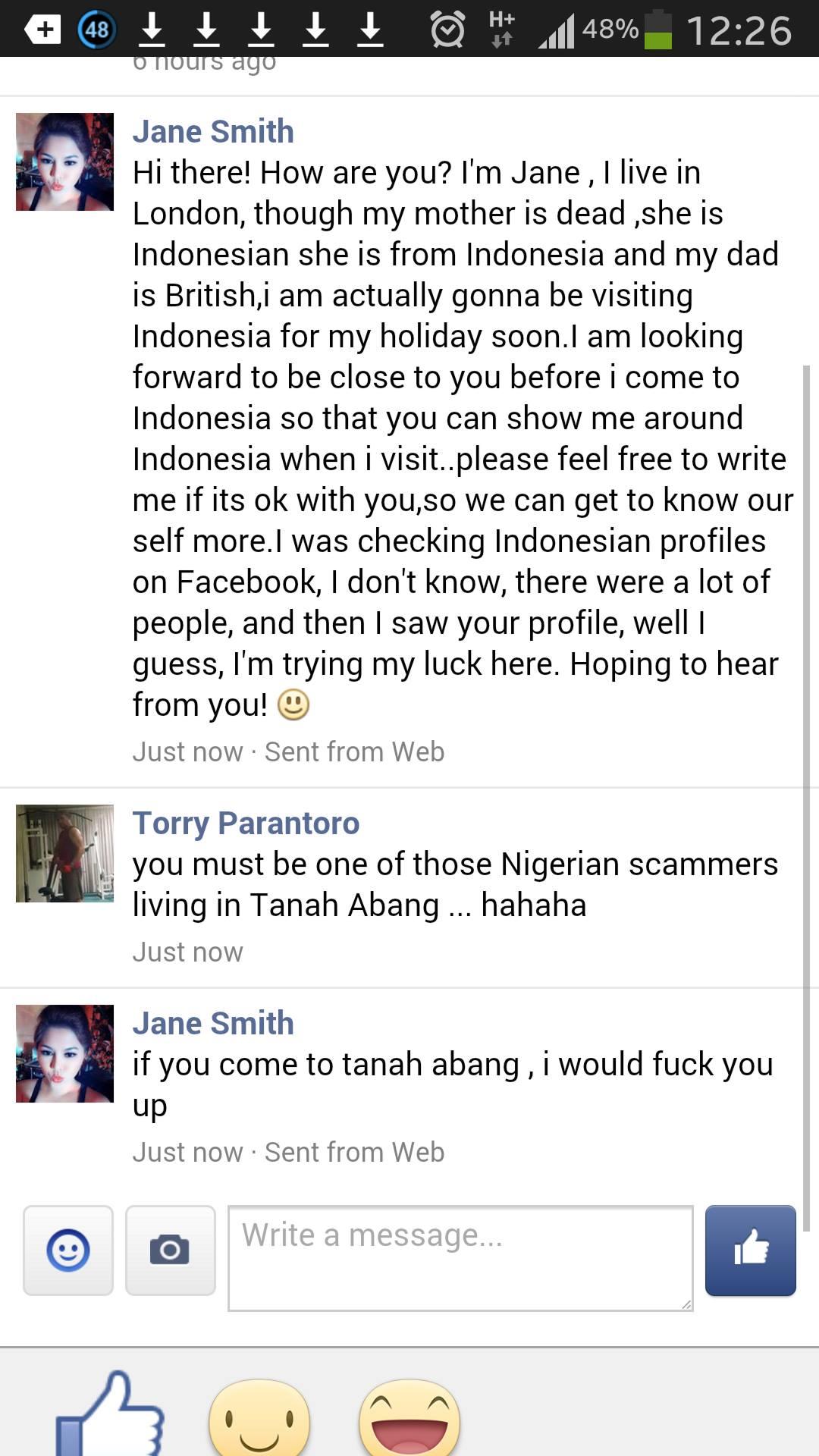Penipuan scammer facebook dari Nigeria
