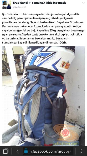 bawa tas ransel kena tilang pak polisi di bandung tahun 2015