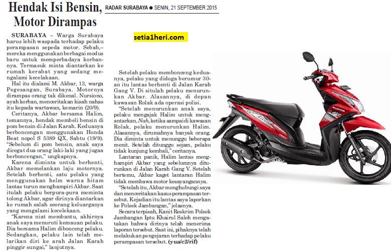 anak kecil bawa motor jadi korban jambret motor di surabaya tahun 2015