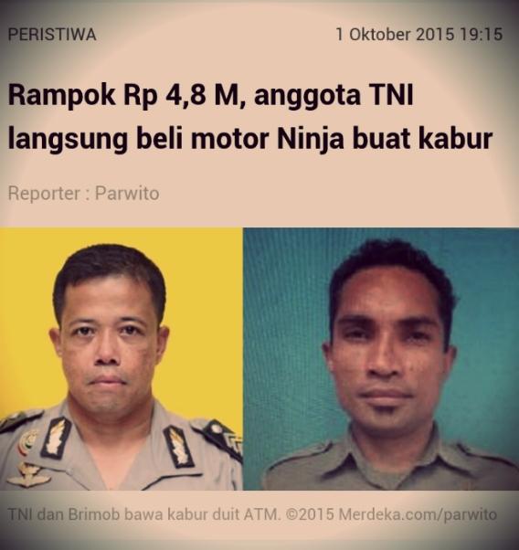 Oknum TNI dan Brimob otak perampokan atm di semarang