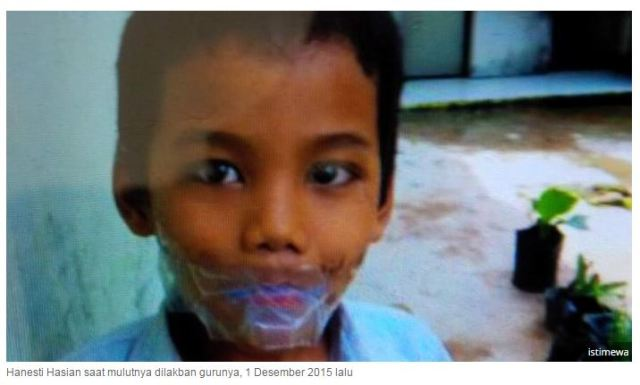 siswa SD Adven Batam di lakban mulutnya oleh sang guru
