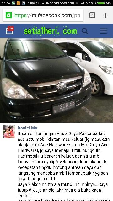 kijang innova nopol L1306SS suka serobot parkir di mall atau pusat perbelanjaan di Kota Surabaya tahun 2016