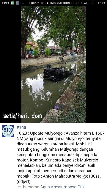 ngebut Benjut... avanza diceburkan warga Mulyorejo di Surabaya 2016