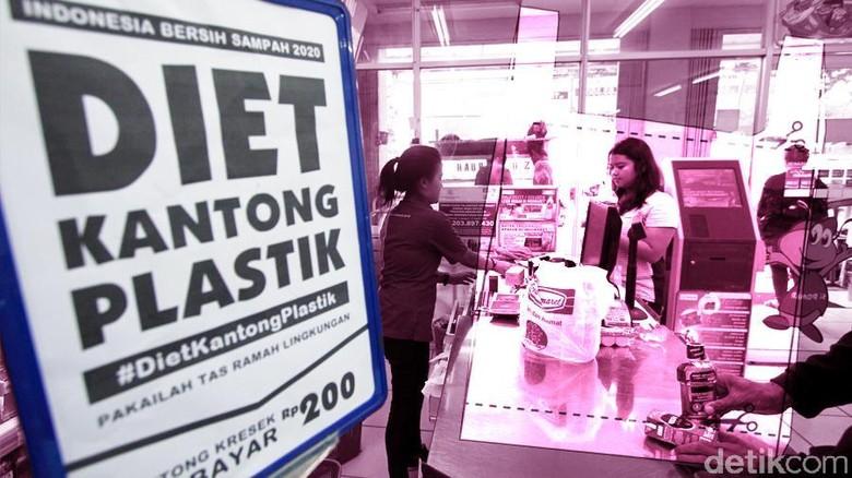 program kantong plastik atau kantong kresek berbayar mulai tanggal 21 pebruari 2016 di 22 kabupaten kota provinsi di Indonesia