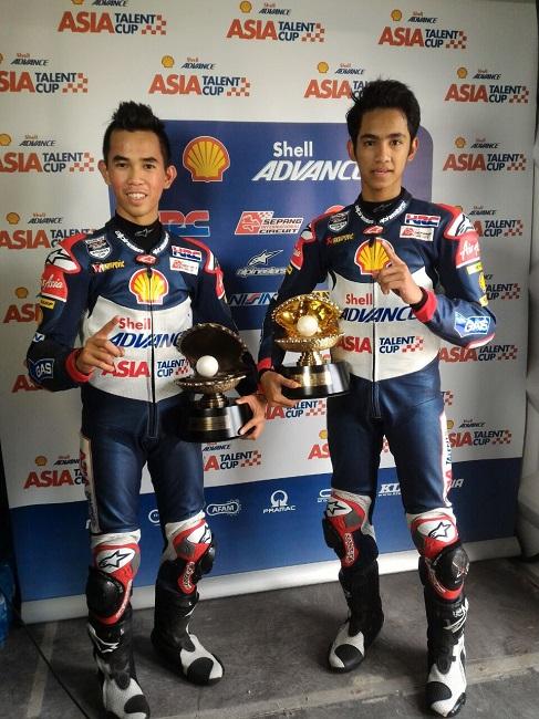 Pebalap binaan AHM, Gerry Salim dan Andi Gilang berhasil raih podium pertama di race yang berbeda pada ATC 2016 seri Qatar (19-203)