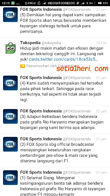konfirmasi Fox Sport Indonesia terkait ketiadaan bendera Indonesia disamping Rio Haryanto di GP Australia tahun 2016