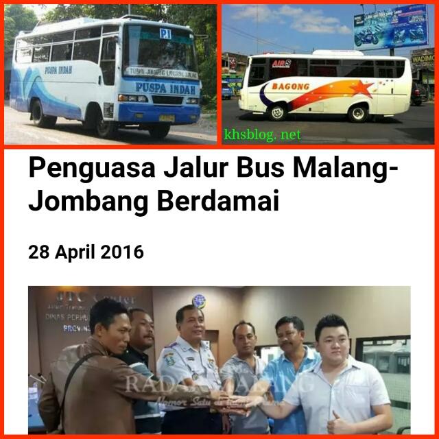 bus puspa indah dan bus bagong berdamai tanggal 28 April 2016
