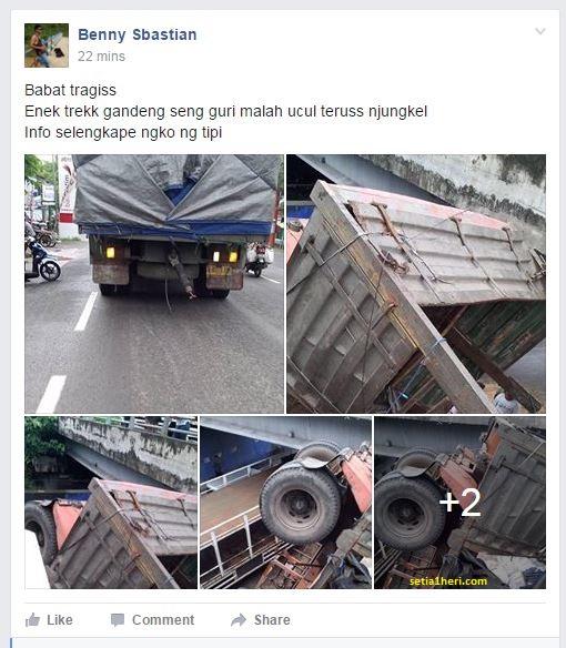kecelakaan truk gandeng di jembatan widang tanggal 15 April 2016
