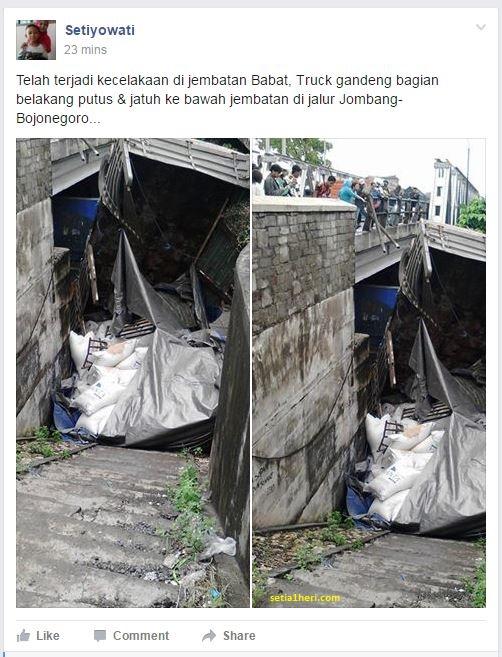 kecelakaan truk putus gandengan di jembatan widang 15 april 2016
