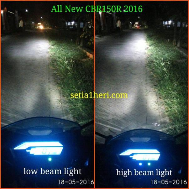 hasil lampu led headlamp honda cbr150r tahun 2016