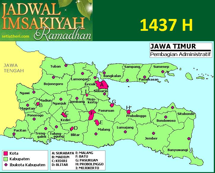jadwal imsakiyah atau jadwal imsak area jawa timur 1437 hijriah atau tahun 2016