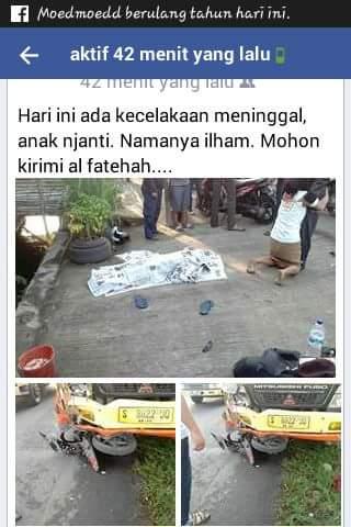 kecelakaan anak smk cerme namanya ilham di benjeng gresik tanggal 27 juli 2016
