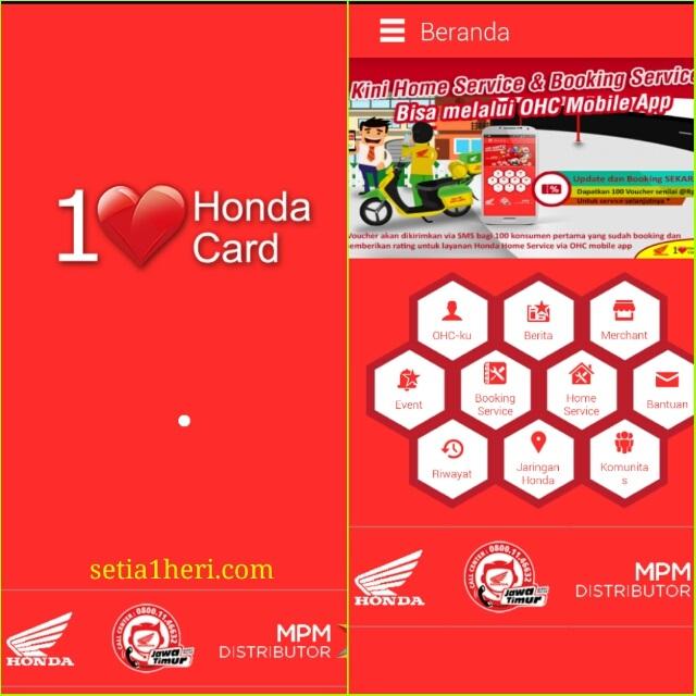 honda home service via OHC card tahun 2016