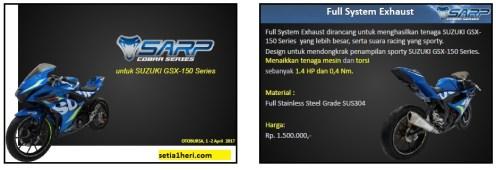 Daftar aksesoris SARP Cobra Series untuk Suzuki GSX R-10 dan GSX S-150 tahun 2017