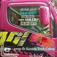 tulisan unik stiker di truk canter