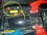 posisi aki bila modif berlubang bagian rangka tengah pada Honda Tiger